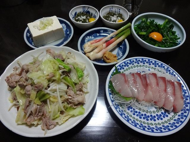 肉野菜炒めと刺身の献立